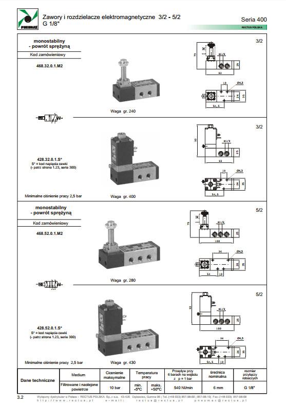 Elektrozawory seria 400_468_428 PNEUMAX