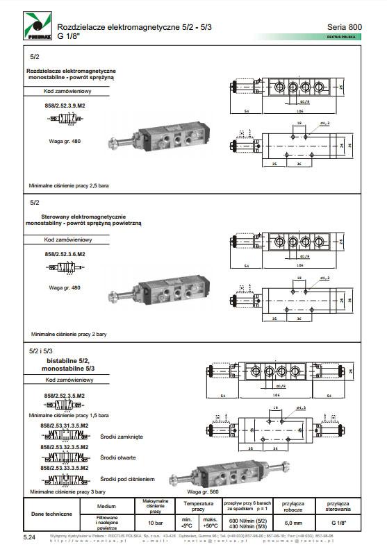 Elektrozawory seria 800_858-878 PNEUMAX