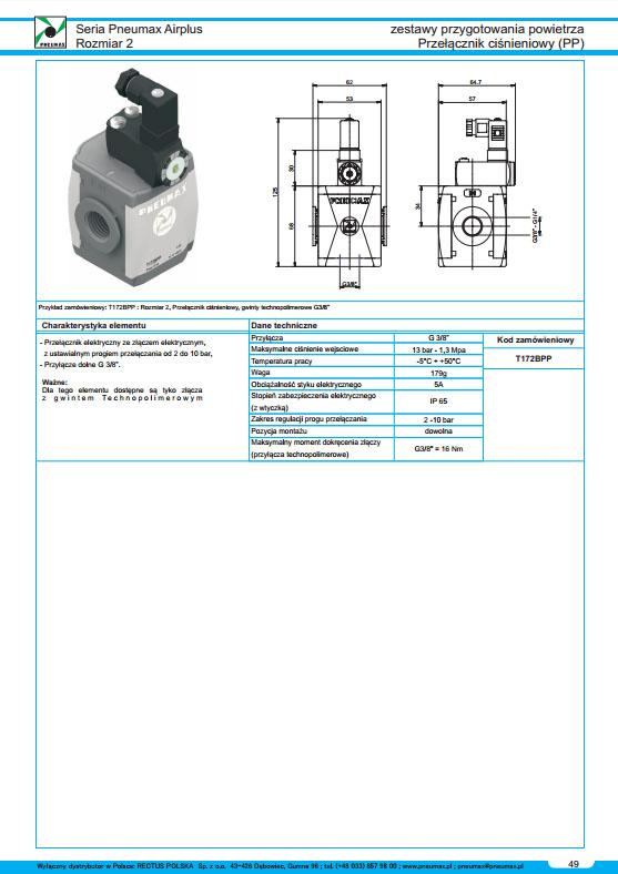 Seria Air 3 przełącznik ciśnieniowy - Presostat PNEUMAX