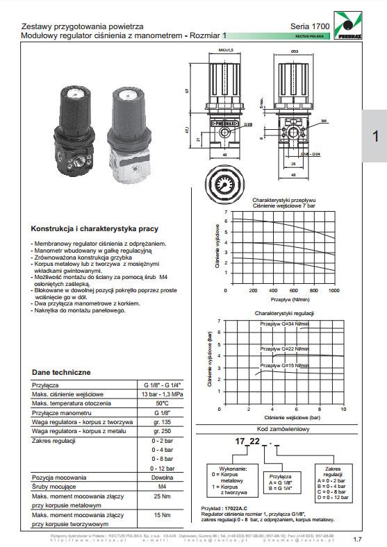 Seria 1700-1 regulator ciśnienia modułowy PNEUMAX