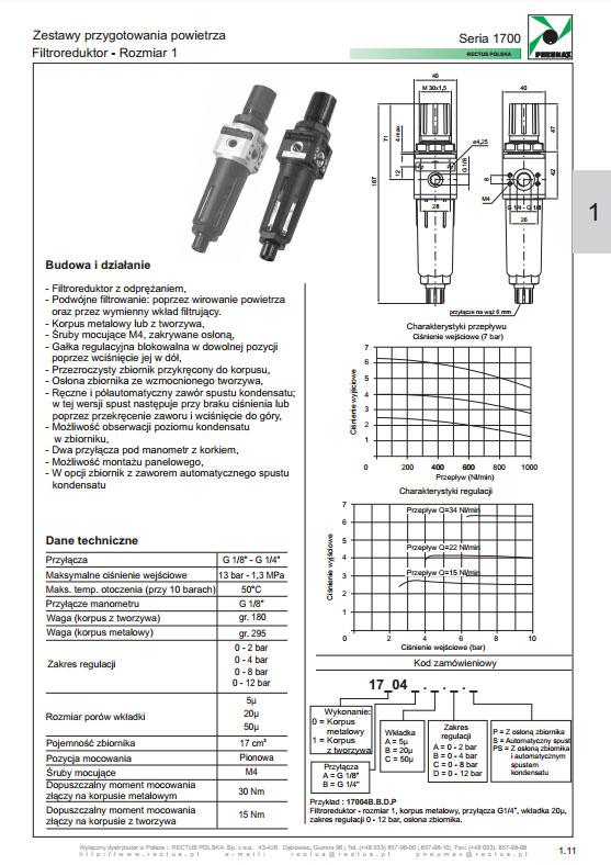 Seria 1700-1 filtroregulator PNEUMAX