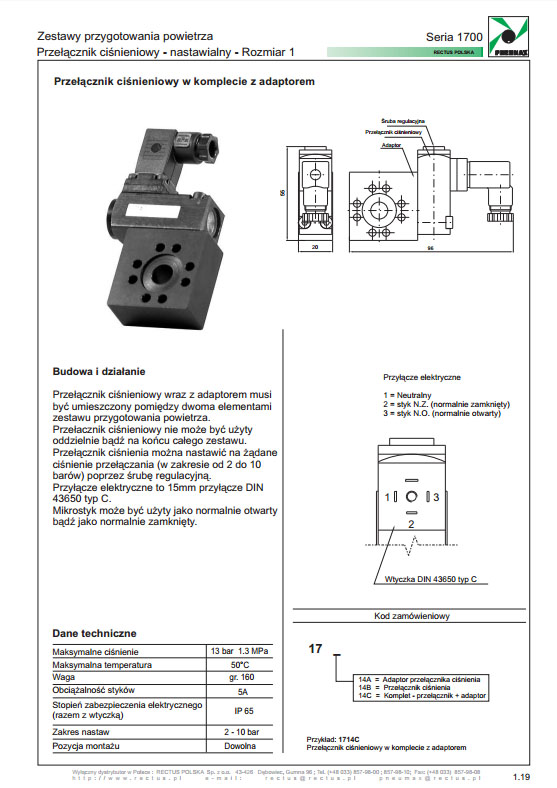 Seria 1700-1 przełącznik ciśnienia nastawialny PNEUMAX