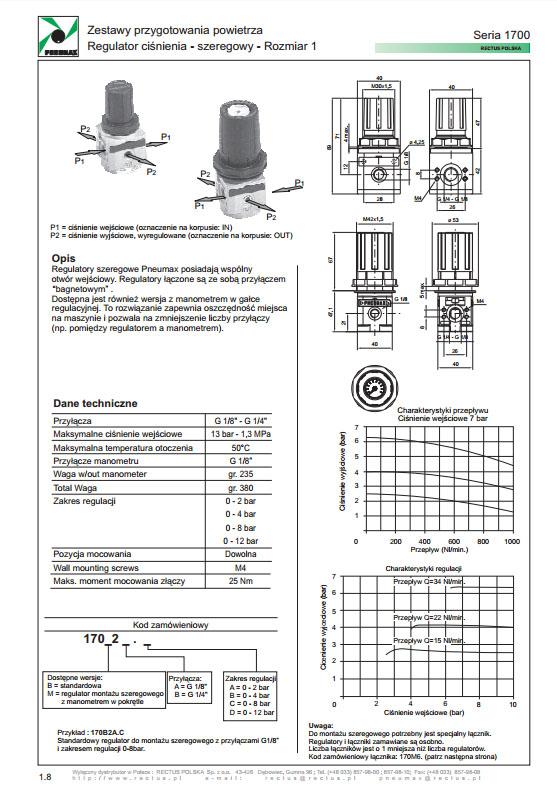 Seria 1700-1 regulator ciśnienia szeregowy PNEUMAX