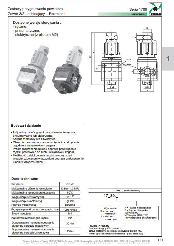 Seria 1700-1 zawór 3/2 - odcinający PNEUMAX