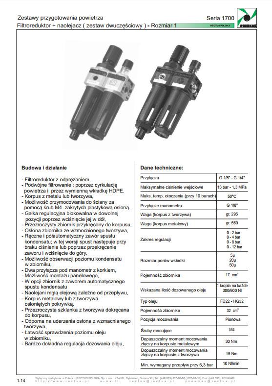 Seria 1700-1 zestaw 2-częściowy FR+L 1/8