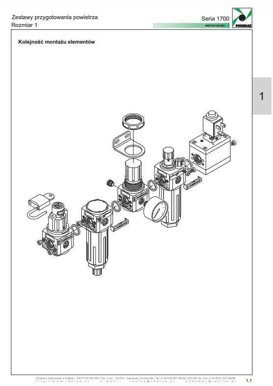 Seria 1700-1 zestaw 3-częściowy F+R+L 1/8