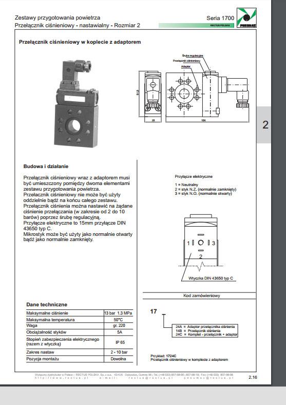 Seria 1700 rozm. 2 przełącznik ciśnienia nastawialny PNEUMAX