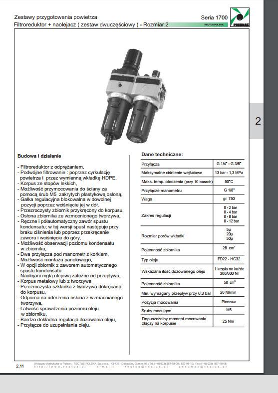 Seria 1700 rozm. 2 zestaw 2-częściowy FR+L 14 - 38 PNEUMAX