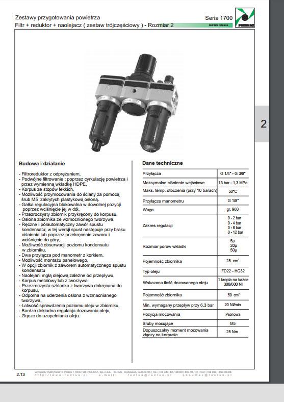 Seria 1700 rozm. 2 zestaw 3-częściowy FR+L 14-38 PNEUMAAX