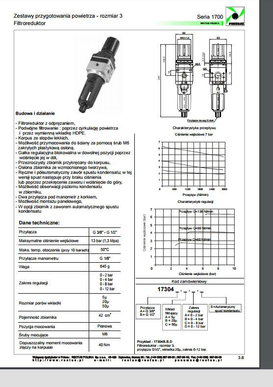 Seria 1700 rozm. 3 filtroregulatory 38 - 12 PNEUMAX
