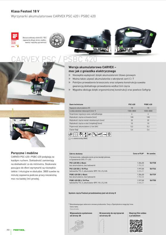 Akumulatorowe wyrzynarki CARVEX klasa Festool 18 V