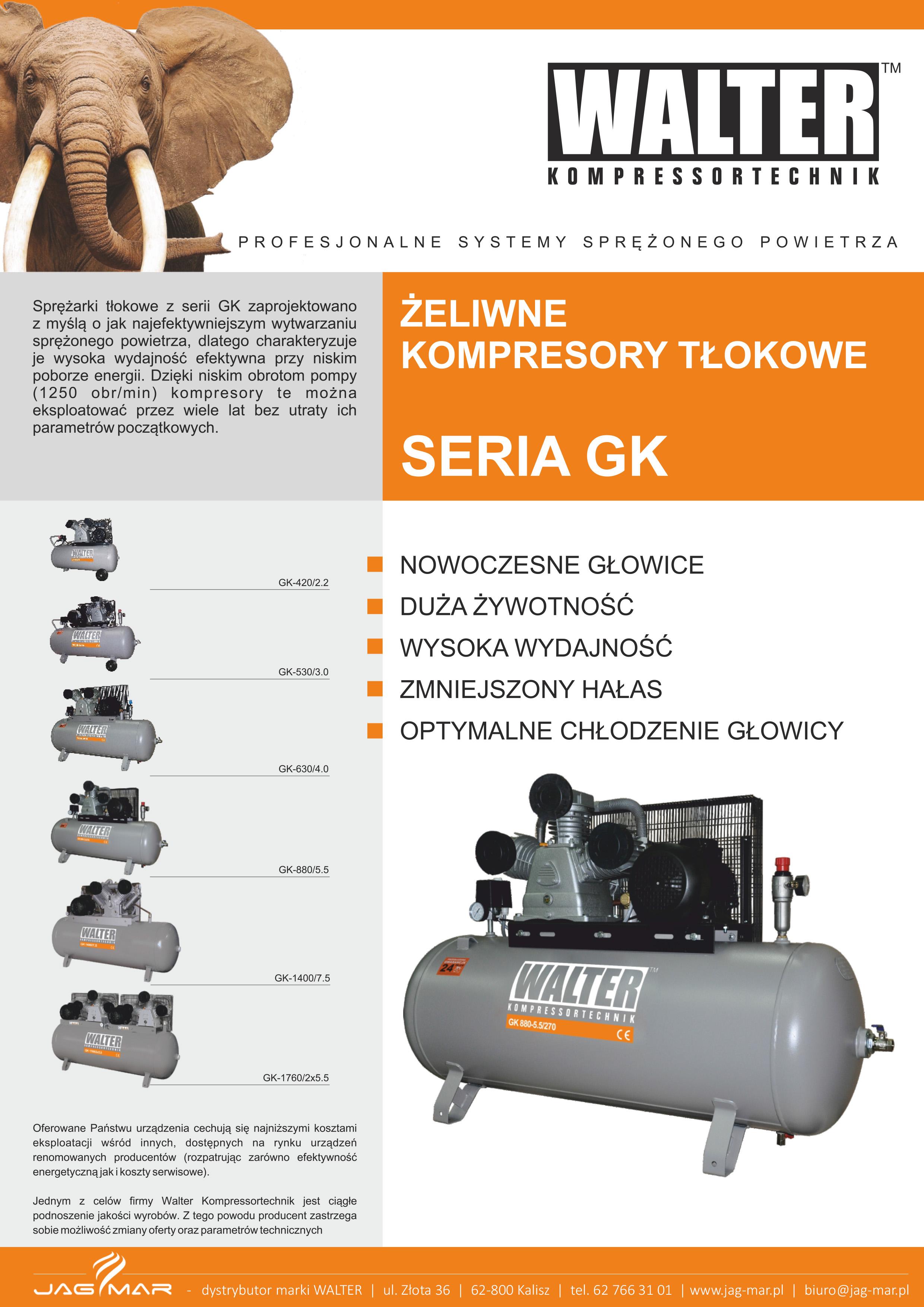 Kompresory tłokowe GK WALTER